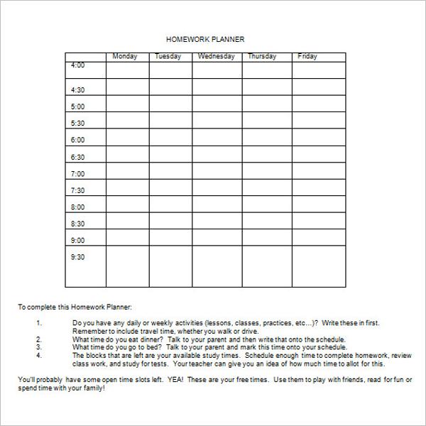 Student Homework Agenda Template