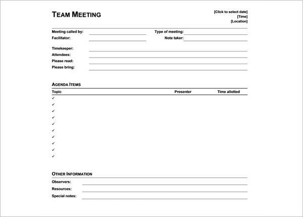 Student Meeting Agenda Template