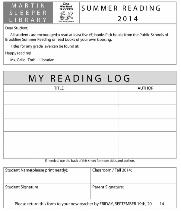 Summer Reading Log Template