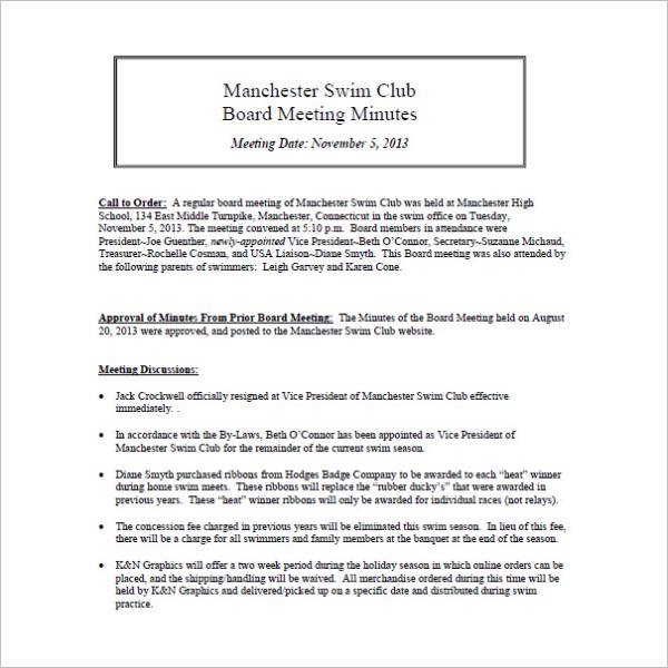 Swim Club Meeting Minutes Template
