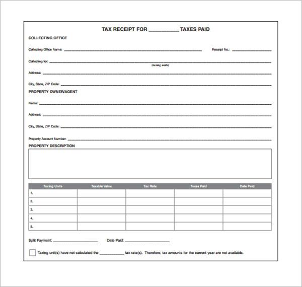 Tax Receipt Format