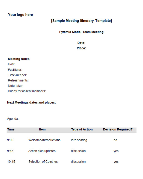 Team Meeting Itinerary Template Free Download
