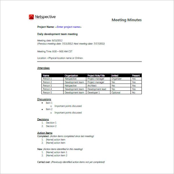 Team Meeting Minutes Format