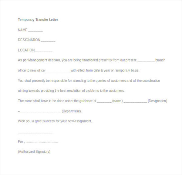 Temporary Transfer Letter Example