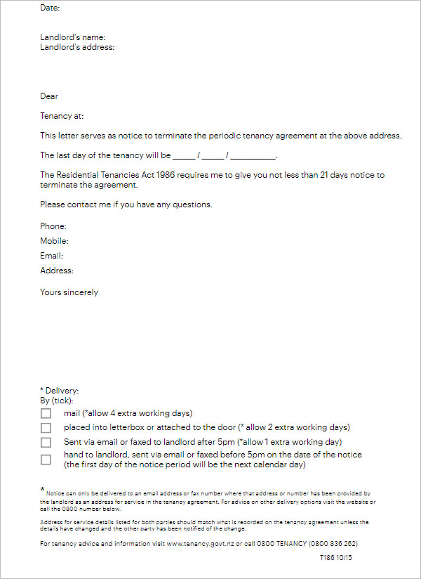 Tenant Letter to Landlord 14 Days Notice