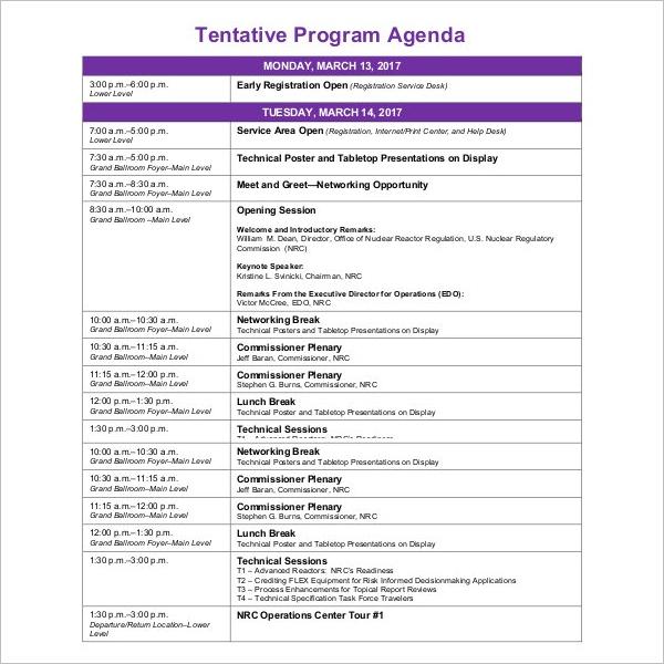 Tentative Program Agenda Template