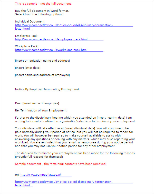 Termination Letter Template With Notice Period