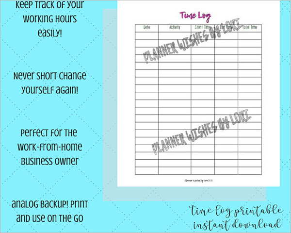 Time Planning Log Template