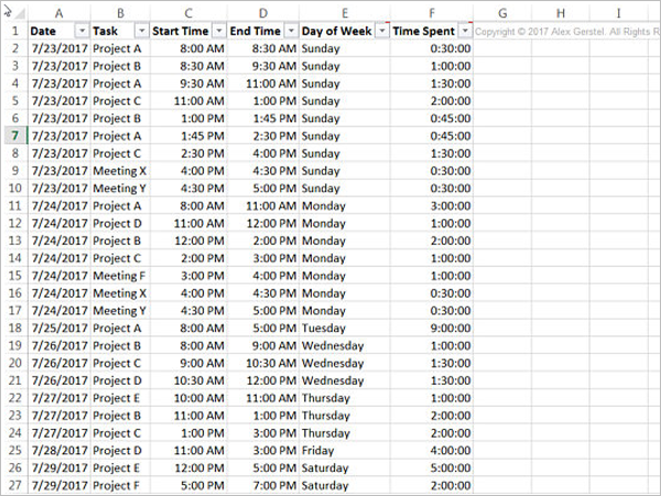 Time Tracking Template PDF