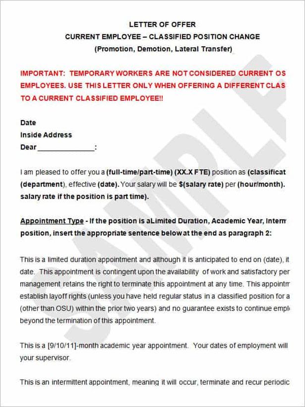 Transfer Letter For Position
