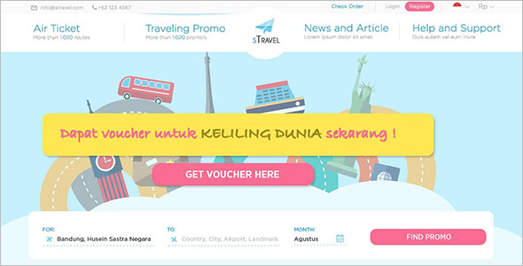 Travel Booking Website HTML Template –