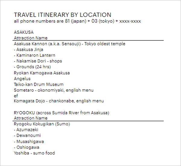 Travel Itinerary Template Download