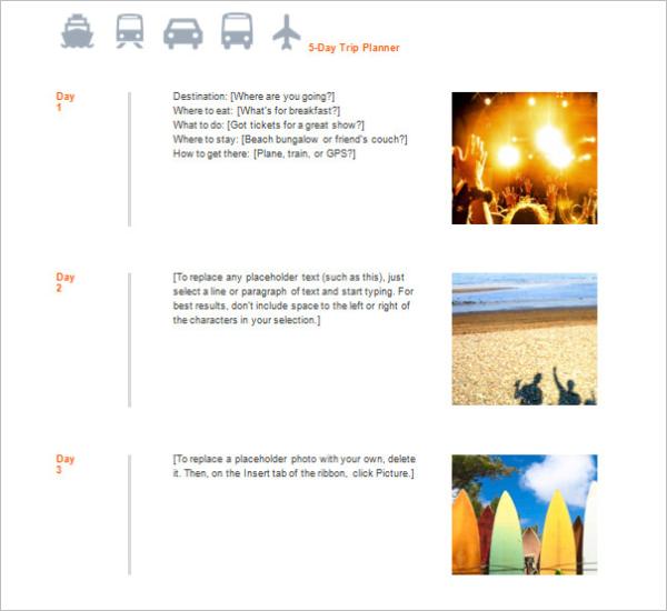 Travel Planner Agenda Template