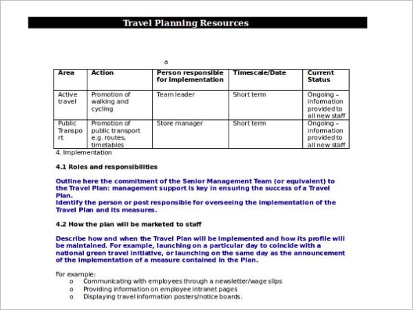 Trip Agenda Planning Format