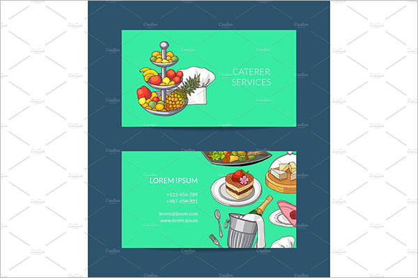 Vector Business Card Template For Catering Service