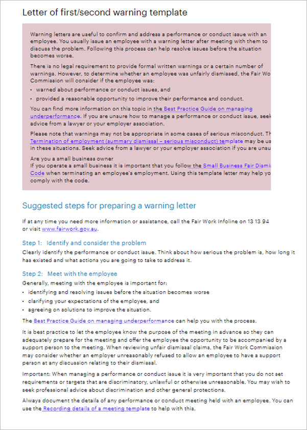 Warning Letter Format In Word