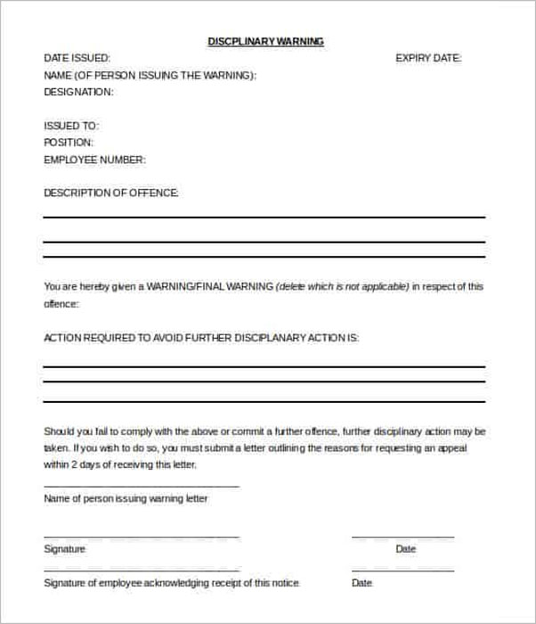 Warning Letter To Employee For Absence