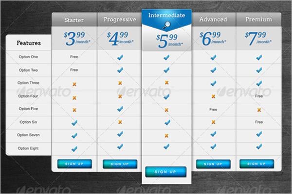 Website Price List Template