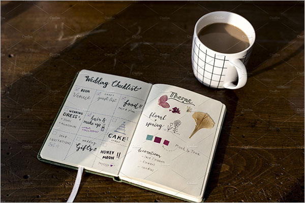 Wedding Checklist With Notepad Template