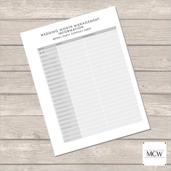 Wedding Contact Sheet Template