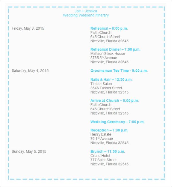 Wedding Iitinerary Template Download