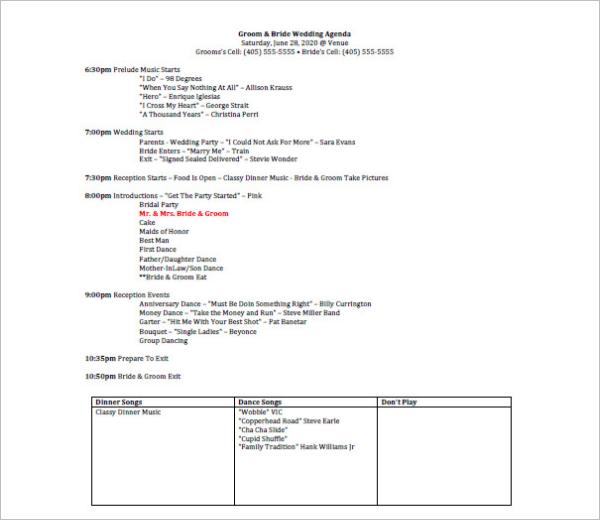 Wedding Agenda Template | Wedding Planner Agenda Template
