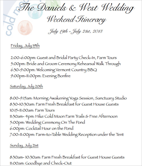 Weekend Wedding Itinerary Template PDF