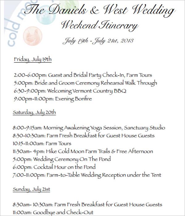 Weekend Wedding Itinerary Template PDF
