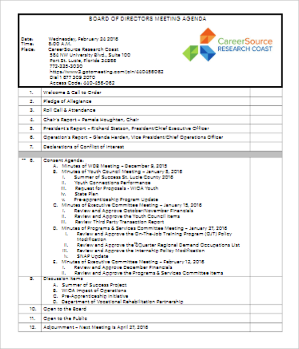 Weekly Board Of Director Meeting Agenda Template