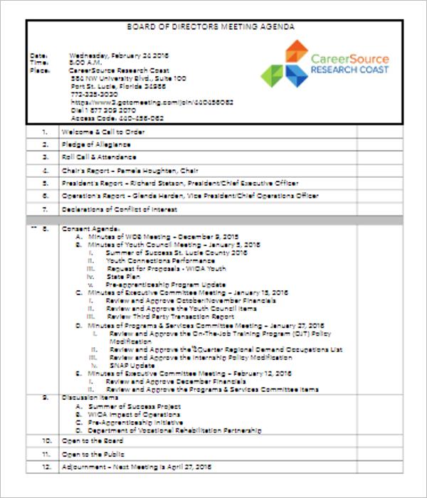 17+ Board of Directors Meeting Minutes Templates Free Doc ...