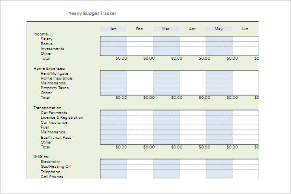 Weekly Budget Tracking Template