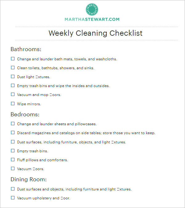 Weekly Cleaning Checklist Template