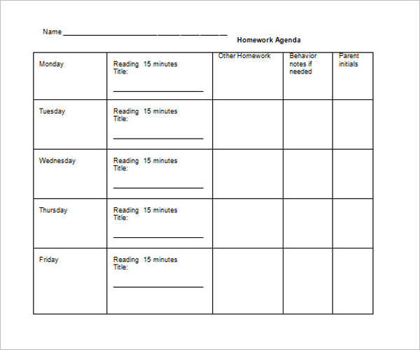 Weekly Homework Calendar Template –