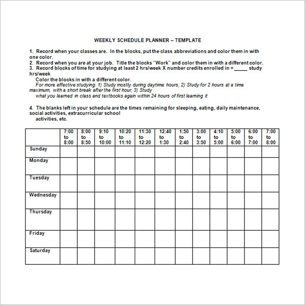 Weekly Students Agenda Template
