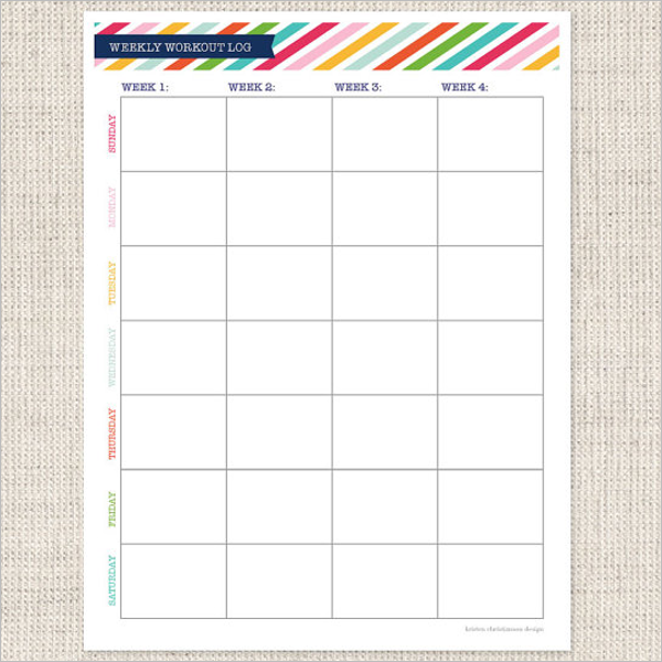 Weekly Workout Log Template
