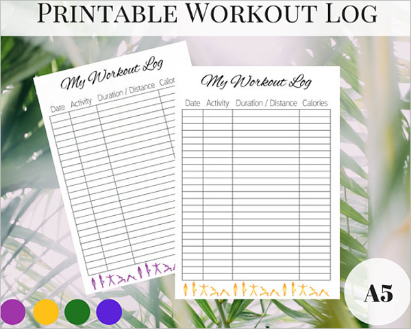 Workout Log Template PDF Format