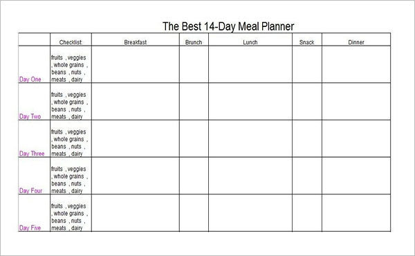 14 Days Meal Planning Template