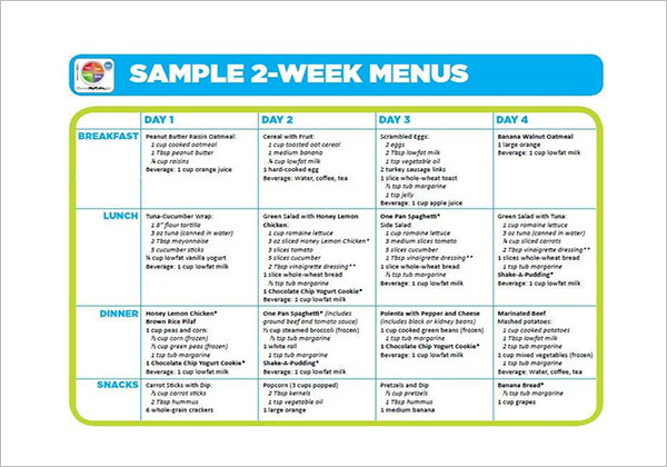 2 Weeks Meal Planning Template