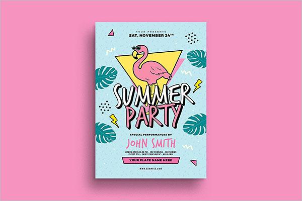 90's Summer Party Flyer Design