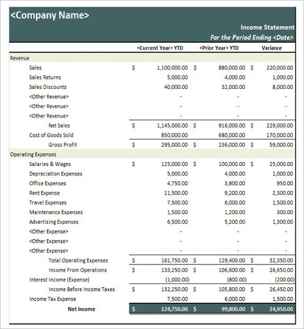 Basic Income Statement Template Excel