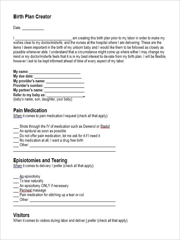 Birth Plan Generator Format