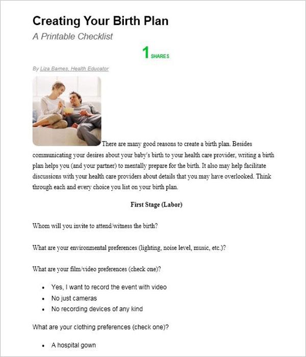 Birth Plan Template Download