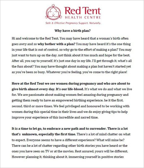 Birth Plan Template PDF