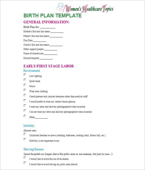 Birth Plan Worksheet