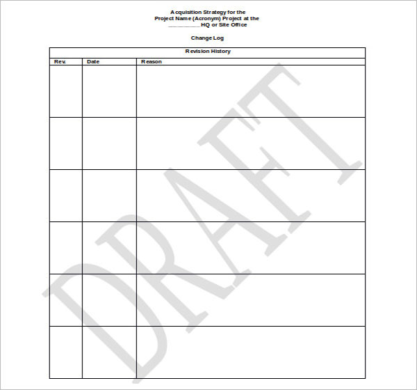 Blank Acquisition Strategy Template