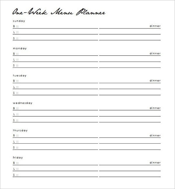 Blank Meal Planner Template