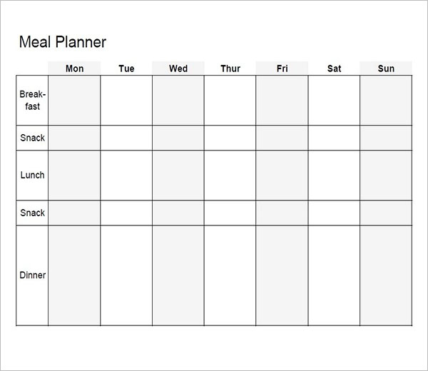 Blank Weekly Meal Planning Template