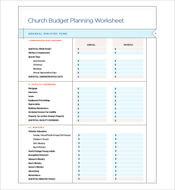 Church Construction Budget Template