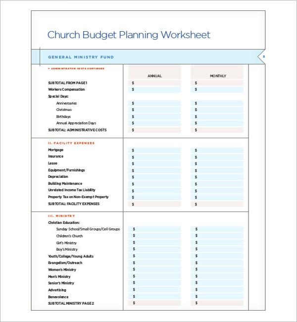 Church Construction Budget Template