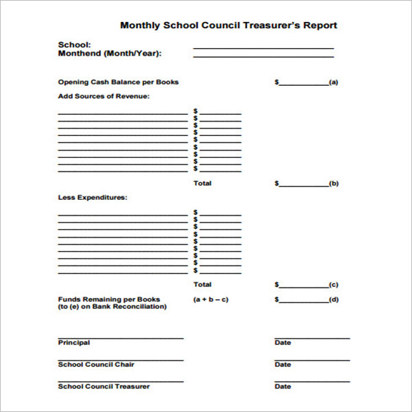 Church Treasurer Report Template